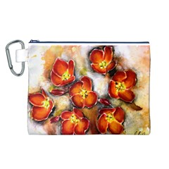 Fall Flowers Canvas Cosmetic Bag (l)