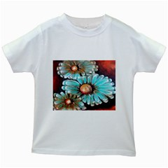 Fall Flowers No  2 Kids White T Shirts