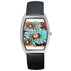 Fall Flowers No  2 Barrel Metal Watches