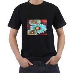 Fall Flowers No. 2 Men s T-Shirt (Black) (Two Sided)
