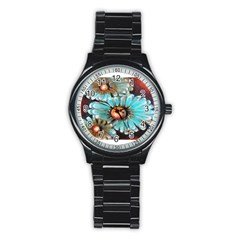 Fall Flowers No  2 Stainless Steel Round Watches