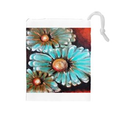 Fall Flowers No. 2 Drawstring Pouches (Large)