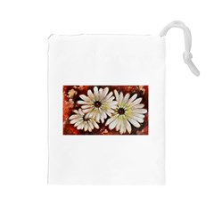 Fall Flowers No. 3 Drawstring Pouches (Large)