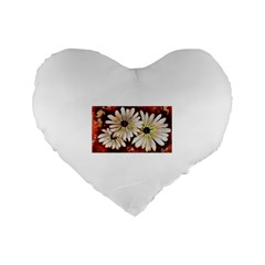 Fall Flowers No. 3 Standard 16  Premium Flano Heart Shape Cushions