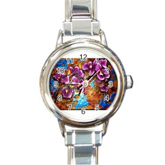 Fall Flowers No  5 Round Italian Charm Watches