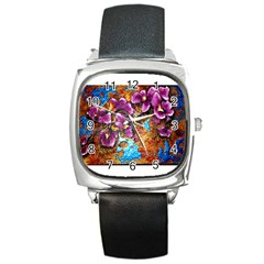 Fall Flowers No  5 Square Metal Watches