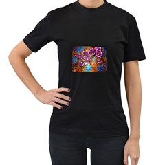 Fall Flowers No. 5 Women s T-Shirt (Black) (Two Sided)