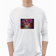 Fall Flowers No. 5 White Long Sleeve T-Shirts