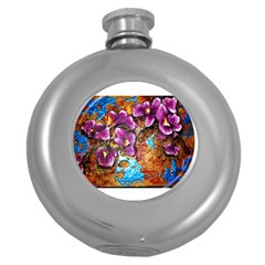 Fall Flowers No  5 Round Hip Flask (5 Oz)