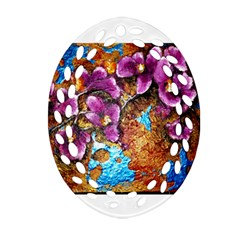 Fall Flowers No  5 Oval Filigree Ornament (2 Side)