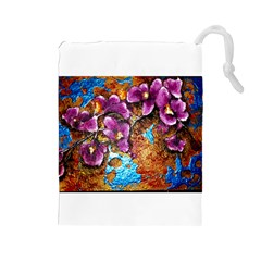 Fall Flowers No. 5 Drawstring Pouches (Large)