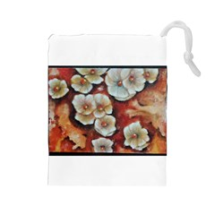 Fall Flowers No. 6 Drawstring Pouches (Large)