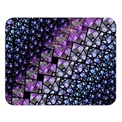 Dusk Blue and Purple Fractal Double Sided Flano Blanket (Large)
