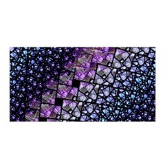 Dusk Blue and Purple Fractal Satin Wrap