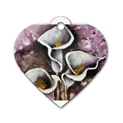 Gala Lilies Dog Tag Heart (two Sides)