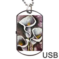 Gala Lilies Dog Tag Usb Flash (one Side)