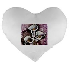 Gala Lilies Large 19  Premium Flano Heart Shape Cushions