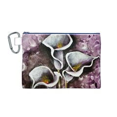 Gala Lilies Canvas Cosmetic Bag (M)