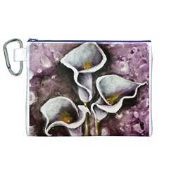 Gala Lilies Canvas Cosmetic Bag (XL)