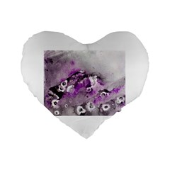 Shades of Purple Standard 16  Premium Flano Heart Shape Cushions