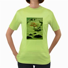 Mountains, Trees and Fog Women s Green T-Shirt