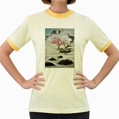 Mountains, Trees and Fog Women s Fitted Ringer T-Shirts