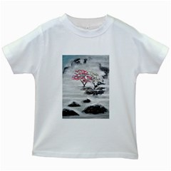 Mountains, Trees and Fog Kids White T-Shirts