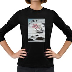 Mountains, Trees And Fog Women s Long Sleeve Dark T Shirts