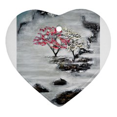 Mountains, Trees And Fog Heart Ornament (2 Sides)