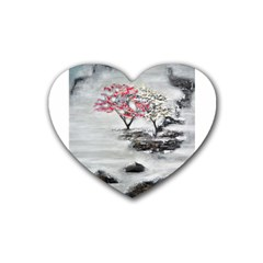 Mountains, Trees And Fog Rubber Coaster (heart)