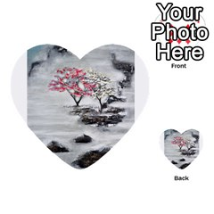 Mountains, Trees And Fog Multi Purpose Cards (heart)