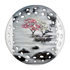 Mountains, Trees and Fog Ornament (Round Filigree)