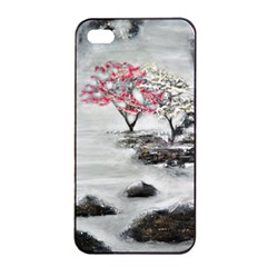 Mountains, Trees and Fog Apple iPhone 4/4s Seamless Case (Black)