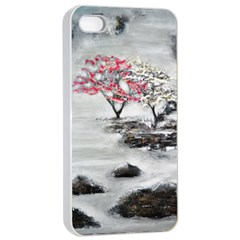 Mountains, Trees And Fog Apple Iphone 4/4s Seamless Case (white)
