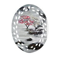 Mountains, Trees and Fog Oval Filigree Ornament (2-Side)