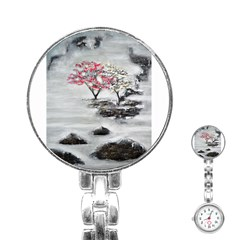 Mountains, Trees And Fog Stainless Steel Nurses Watches