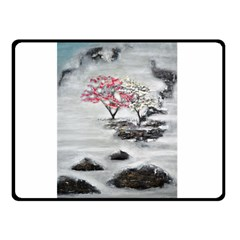 Mountains, Trees and Fog Double Sided Fleece Blanket (Small)