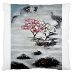 Mountains, Trees and Fog Large Flano Cushion Cases (One Side)
