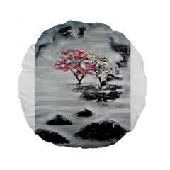 Mountains, Trees and Fog Standard 15  Premium Flano Round Cushions