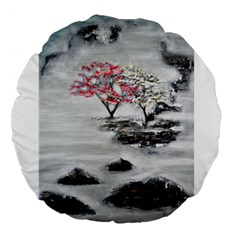 Mountains, Trees And Fog Large 18  Premium Flano Round Cushions