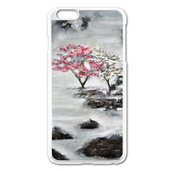 Mountains, Trees And Fog Apple Iphone 6 Plus Enamel White Case