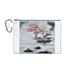 Mountains, Trees and Fog Canvas Cosmetic Bag (M)
