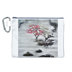 Mountains, Trees and Fog Canvas Cosmetic Bag (L)