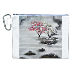 Mountains, Trees and Fog Canvas Cosmetic Bag (XXL)