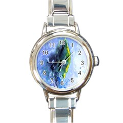 Bright Yellow And Blue Abstract Round Italian Charm Watches