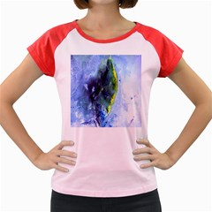 Bright Yellow and Blue Abstract Women s Cap Sleeve T-Shirt