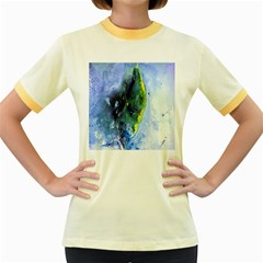 Bright Yellow and Blue Abstract Women s Fitted Ringer T-Shirts