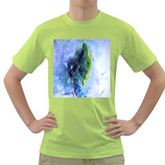 Bright Yellow and Blue Abstract Green T-Shirt