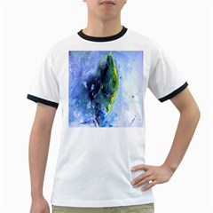 Bright Yellow and Blue Abstract Ringer T-Shirts