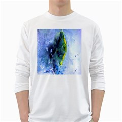 Bright Yellow and Blue Abstract White Long Sleeve T-Shirts